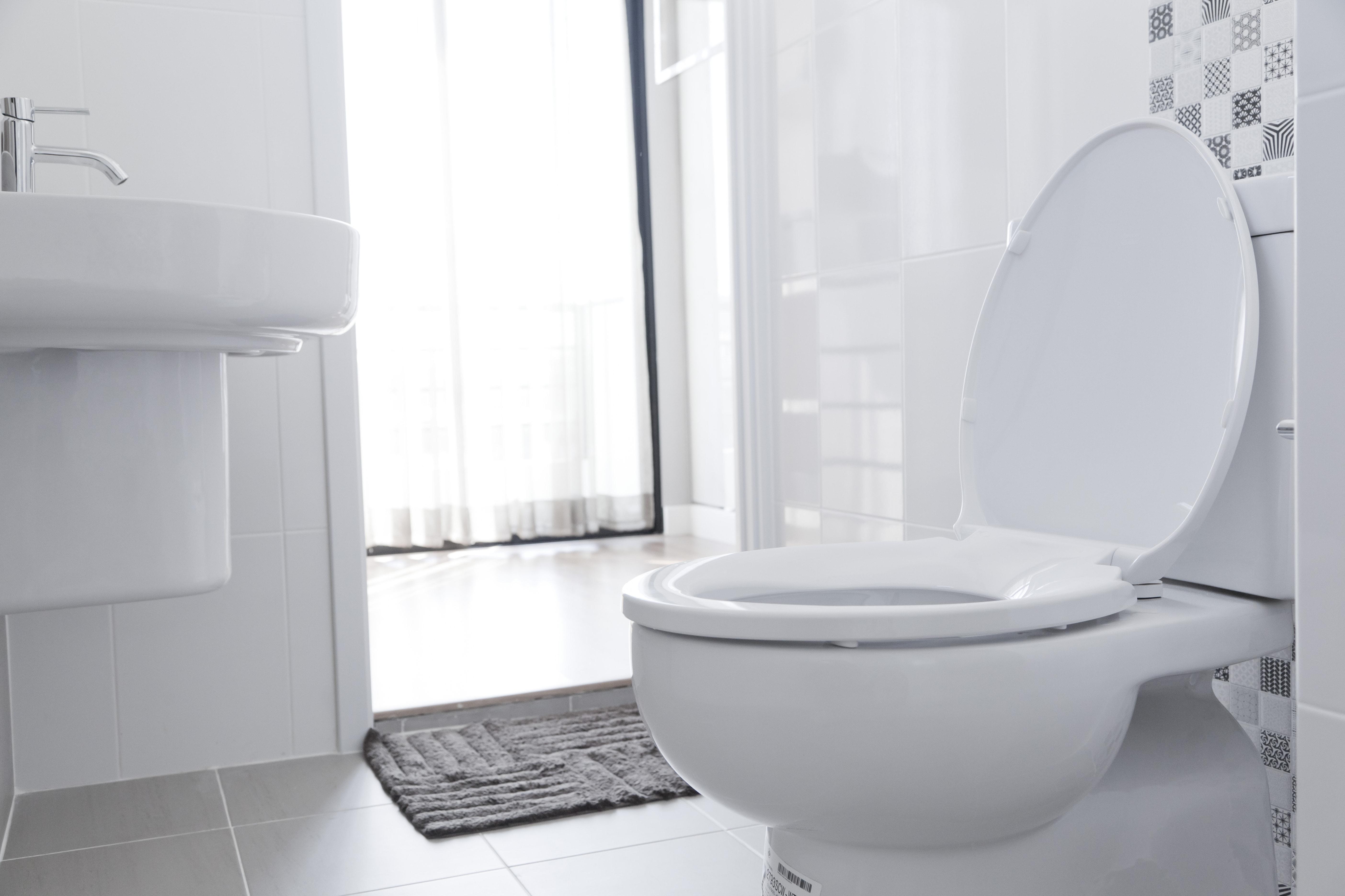 White toilet in home bathroom