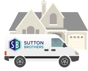 Illustration of home & Sutton Brothers Service Truck